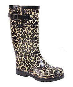 Tan Leopard Puddles Rain Boot