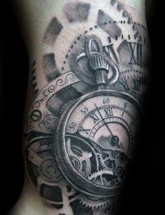 Mechanical Gears Guys Roman Numeral Pocket Watch Arm Tattoo Design Ideas
