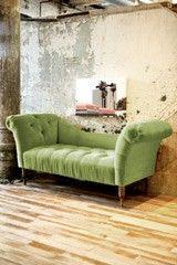 Velvet Fainting Sofa - Apple Green