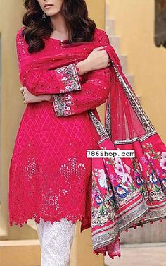 Hot Pink Lawn Suit | Buy Maria B Eid Collection Pakistani Dresses and Clothing online in USA, UK