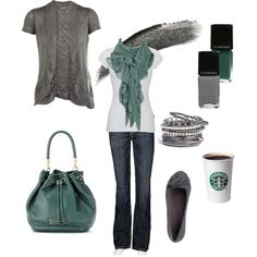 """Untitled #64"" by chelseawate on Polyvore. Love the mossy blue-green."