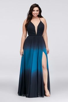 This soft and sophisticated plus-size chiffon gown fades to a lighter shade at the hemline, making it perfect for twirling on the dance floor. Finished with an illusion plunge neckline and lace-up back detail.   By Betsy & Adam  Polyester  Back zipper; fully lined  Dry clean  Imported  Also available in regular