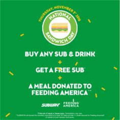FREE Sub w/p at Subway on 11/3 on http://www.icravefreebies.com/