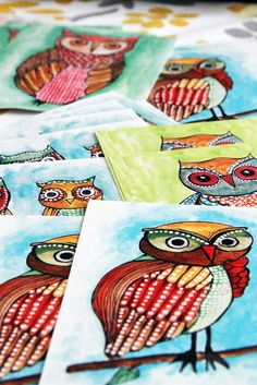 Owl Notecards from Alisa Burke These could also be really cute displayed in white wooden frames as a collection.