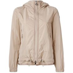 Moncler hooded windbreaker jacket (1,050 BAM) ❤ liked on Polyvore featuring activewear, activewear jackets, jackets, moncler and logo sportswear