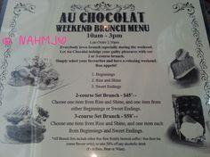 Au Chocolat Bistro Menu Bistro, French Restaurants, Brunch Menu, Singapore, Classy, Let It Be, Chocolates, Brunch, Chic