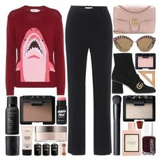 """""""Purple and scarred is the color that will be on my heart"""" by pure-and-valuable ❤ liked on Polyvore featuring Givenchy, Gucci, NARS Cosmetics, Living Proof, Essie, Typhoon, Revol and Fendi"""