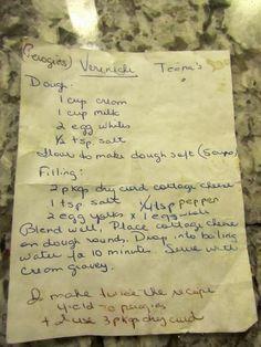 Mennonite Girls Can Cook: Saturday in Norma's Kitchen.making perogies. Amish Recipes, Old Recipes, Vintage Recipes, Gourmet Recipes, Cooking Recipes, Recipies, Retro Recipes, Delicious Recipes, Ukrainian Recipes