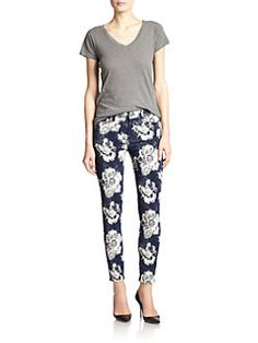 7 For All Mankind - Floral Jacquard Ankle Skinny Jeans