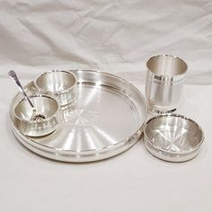size - 999 Pure Silver Dinner Set / Thali Set - Ashapura Pattern With BIS Hallmark Dinner Plate Sets, Dinner Sets, Dinner Ware, Dinner Plates, Dinner Set Design, Dinner Set Online, Silver Pooja Items, Pooja Room Door Design, Silver Jewellery Indian