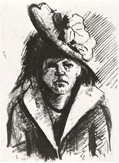 Van Gogh Gallery Vincent van Gogh Drawing, Pen, brush, pencil Antwerp: January , 1886 Estate of Dr. J. Wiegersma Deurne, Belgium, Europe F: 1357a, JH: 985 Image Only - Van Gogh: Woman with Hat, Half-Length