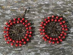 Handmade crocheted wire earrings Wire Earrings, Crochet Earrings, Drop Earrings, Artsy Fartsy, Etsy, Handmade, Crafts, Jewelry, Coral Earrings