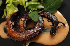 Octopus on Food52: Pan-seared served with Red Pepper Aioli. +info on how to cook an octopus