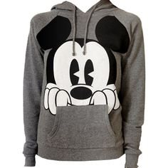 A heathered drawstring hoodie featuring a perched Mickey Mouse® graphic, and a kangaroo pocket in the front. Long raglan sleeves. Banded ribbed trim. Knit. Light to medium weight.