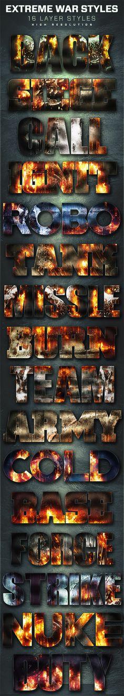 16 Extreme War Layer Styles Volume 7. Download here: http://graphicriver.net/item/16-extreme-war-layer-styles-volume-7/16820398?ref=ksioks