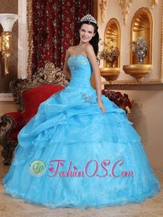 Chic Aqua Blue Quinceanera Dress Strapless Organza Beading Ball Gown  http://www.fashionos.com  Do you love this blue strapless ball gown dress? It is a fiesta of gorgeous! Strapless neckline with corset lace-up back.The bustline is accented with dazzling rehinstone and lovel ruffled throughout. Layers of soft tulle ruffles down the ball gown skirt.The full, ephemeral skirt flares out in a dramatic way so can spin across the stage in this style.