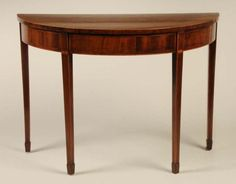 Learn About the Demilune Table: A Hepplewhite demilune mahogany table from Virginia, ca. 1790-1800