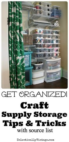 Get supplies under control with these craft supply organization tips and tricks. A place for everything plus make your own chalkboard labels for pennies! ~ See more about craft supply organization, craft supply storage and craft supplies.