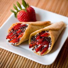 Vegan Tuile Cookies with Strawberries and Chocolate Sprinkles. Looks really cool!
