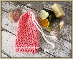 Coral Pink Soap Saver Drawstring Soap Sack Bath Soap Pouch Crochet Handmade