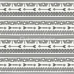 Hand drawn geometric ethnic seamless pattern. Wrapping paper. Scrapbook paper. Doodles style. Tiling. Tribal native vector illustration. Aztec background. Stylish ink graphic texture for design.