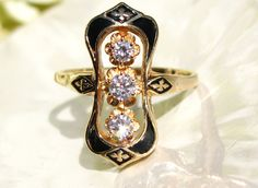 Antique Victorian Style Black Enamel & Diamond Vintage Engagement Ring Navette Diamond Wedding Ring 14K Yellow Gold Floral Motif Ring!