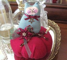 Cat Pincushion 45 Christmas Red and Green by CharlotteStyle, $18.00