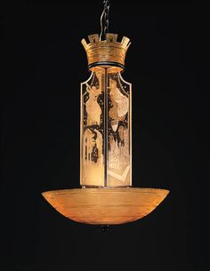 ETCHED GLASS CHANDELIER  Orrefors  In pale yellow glass, with a domical shade etched with a Greek key pattern issuing a cruciform four-paneled glass standard, each finely carved with mythological motifs, beneath a turret-shaped finial