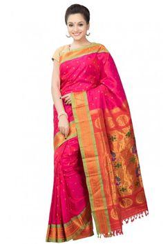 Pink paithani with parrot green border.  Price : ₹16,680.00 or $278.00  To order now whatsapp on +91 9820516447.  #Designersaree #India #Wedding #Ethnicsaree #Handloomsarees #Traditionalwear #SareeIndia #Madeinindia #UK #Weddingsaree #Sareeshopping