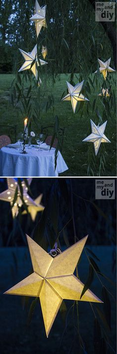 DIY Paper Lantern Ideas and Tutorial | Paper Star Lantern by DIY Ready at http://diyready.com/21-diy-outdoor-lantern-ideas/