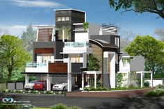 Check Out The Latest Model Contemporary Home Plans.. #contemporarytypehome #semicontemporary #KMHP http://www.kmhp.in/design/contemporary-style-elevations-2/