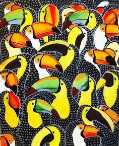 Birds - johanna burai prints and posters, 2019 pattern art, illustration ar Art And Illustration, Pattern Illustration, Motifs Textiles, Textile Patterns, Print Patterns, Pattern Art, Pattern Design, Surface Pattern, Motif Tropical