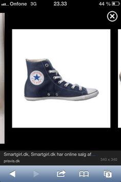 """Converse i en stævet blå farve.  Str. 41 med tynd """"pige"""" bund"""