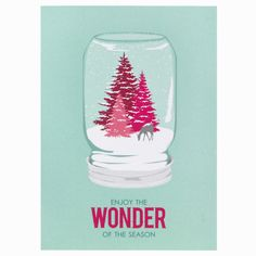 Spread the DIY-wonder of the season with this miniature woodland scene in a mason jar. If only trees were pink in real life! front greeting: enjoy the wonder of the season inside greeting: blank DETAI