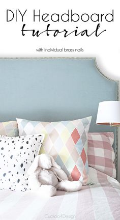 DIY headboards tutorial with individual brass upholstery nails - Cuckoo4Design
