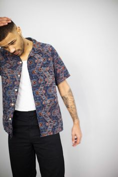 Engineered Garments Chauncey Shirt Navy Kalamkari India Print