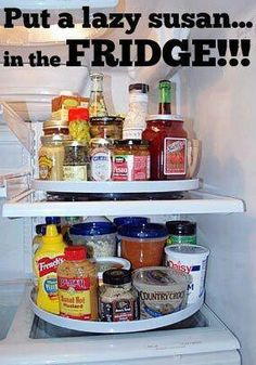 Put a lazy susan in the fridge. Interesting not sure how much space it will save but worth looking into.