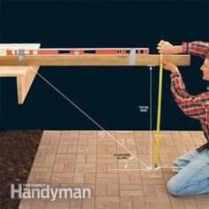 Building deck stairs. Photo 1: Measure the total rise to the deck landing