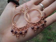 Garnet Copper Wire Hoop Earrings Red Beaded Wire by TheHempChick, $30.00