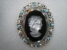 1960s Hematite Look Intaglio Brooch with Aurora by Esoterique50, $24.00