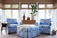 Design Chic - love for a beach house living room = great bamboo shades Cottage Living Rooms, Living Spaces, Salons Cottage, Sunroom Decorating, Decorating Ideas, Decor Ideas, Sunroom Ideas, Summer Decorating, Craft Ideas