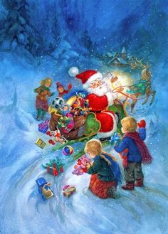 Sue Allison, Santa Dropping Toys from His Sleigh