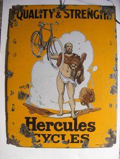 LOVE.  ORIGINAL RARE VINTAGE HERCULES CYCLES PORCELAIN ENAMEL SIGN