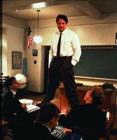 "Robin Williams as Professor John Keating in ""Dead Poets Society"