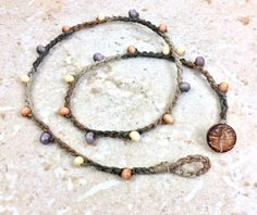 Hemp Anklet Double Wrap Anklet Hemp Wood Bead by CuriousPurplePig