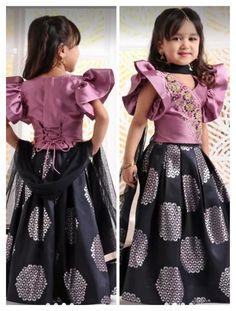 Pre Order: Aqua Blue Crop Top with Pink Printed Skirt Kids Party Wear Dresses, Kids Dress Wear, Kids Gown, Little Girl Dresses, Girls Dresses, Fashion Kids, Fashion Fall, Fashion Outfits, Ethnic Fashion