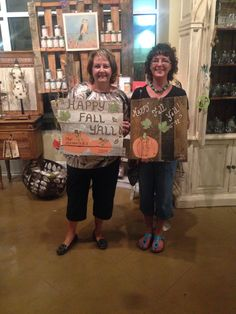 We had a fun evening crafting on pallets. #fall #pumpkins #letsgetcrafty #repurposed #girlsnightsin #lakenorman