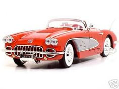 1958 Chevrolet Corvette Convertible Diecast Model Red 1/18 Die Cast Car By Motormax