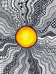 40 simple and easy doodle art ideas to try sun doodles, random doodles, e. Doodle Zen, Easy Doodle Art, Doodle Art Drawing, Zentangle Drawings, Zentangle Patterns, Art Drawings, Drawing Ideas, Doodling Art, Doodles Zentangles