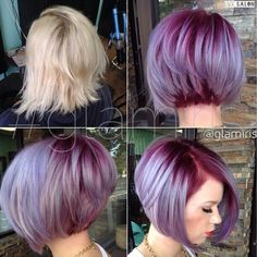 Purple Hair Colour - mixed tones add depth. Choppy cut reveals your delicious plum hues!